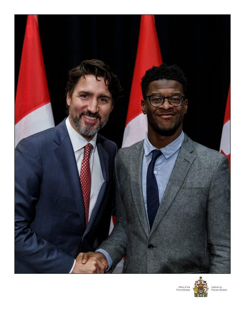 Fabrice Vil et Justin Trudeau, Maison d'Haiti, janvier 2020
